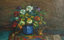 Pansies with Coffee Pot