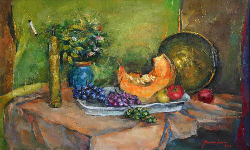 Still life with fruits and cofee grinder