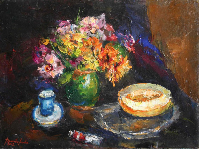 Still life with zinnias and melon 50x34cm