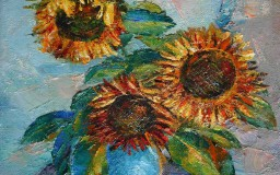 Sunflower in Blue Clay Pot