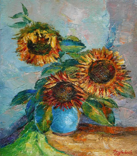 Sunflower in blue clay pot 41x49cm