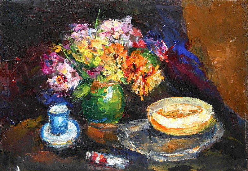 Zinnias and melon 50x34cm