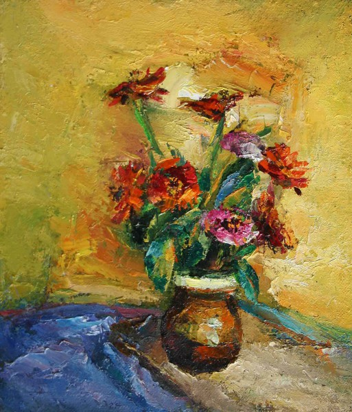 zinnias on a yellow background 34x50cm