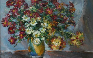 Chrysanthemums in Yellow Pot