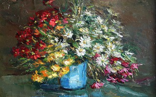 Flowers in blue bowl