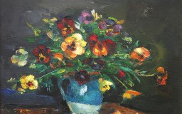 Pansies in Blue Pot