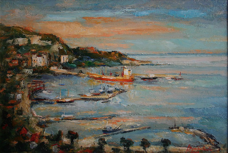 Sunset at Barlchik port 61x41cm