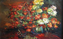 Chrysanthemums and Grapes
