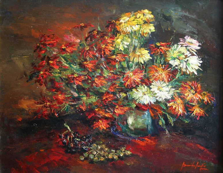 chrysanthemums and grapes 70x50cm