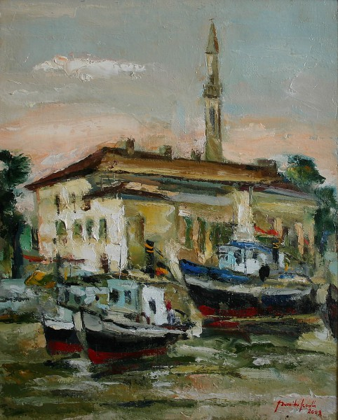 fishing boats at Tulcea 40x50cm