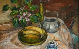 Still Life with Banana and Violets